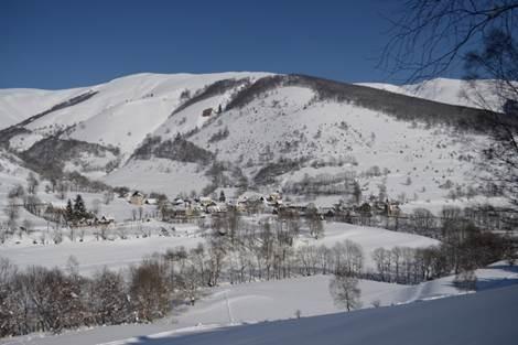 Vue du village sous la neige