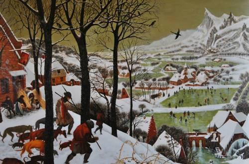 l'atelier dans les vignes - Sylvie Roussel Méric copie Bruegel Chasseurs dans la neige © Sylvie Roussel Méric